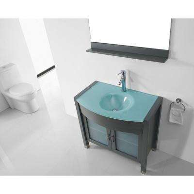 Ava 36 in. W Bath Vanity in Gray with Glass Vanity Top in Aqua Tempered Glass with Round Basin and Mirror and Faucet