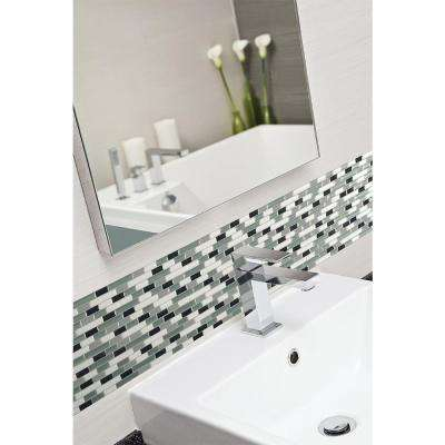 Muretto Prairies 9.125 in. x 10.25 in. Mosaic Decorative Wall Tile in Pewter