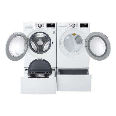 7.4 cu. ft. Ultra Large Smart Stackable Front Load Gas Dryer with TurboSteam, Sensor Dry, Pedestal Compatible in White