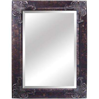 32.5 in. x 44.5 in. Rectangular Decorative Antique Wood Framed Mirror