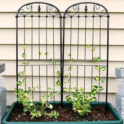 32 in. Black Steel Traditional Trellis (Set of 2)