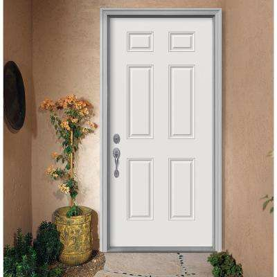 36 in. x 80 in. 6-Panel Primed Premium Steel Front Door Slab