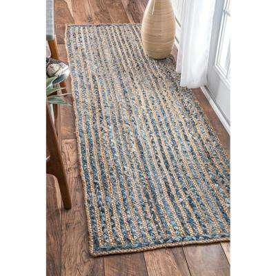 Striped Dara Jute Blue 3 ft. x 10 ft. Runner Rug