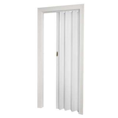 White Hollow Vinyl Accordion Doors Interior Closet Doors
