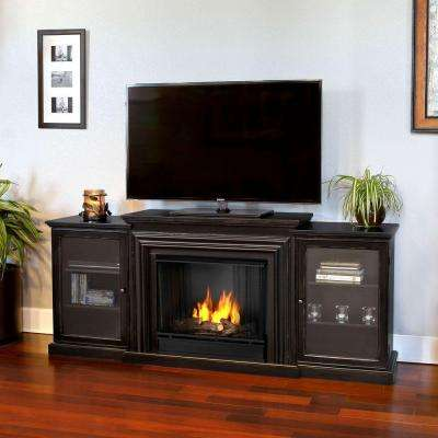 Frederick Entertainment 72 in. Media Console Ventless Gel Fuel Fireplace in Blackwash