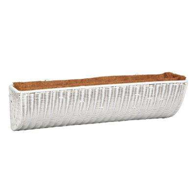 36 in. White Resin Wicker Wall Basket