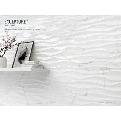Sculpture White Wave Glossy 12.99 in. x 35.83 in. Ceramic Wall Tile (12.928 sq. ft. / case)