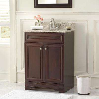 Grafton 25 in. W Bath Vanity in Crimson with Granite Vanity Top in Beige with White Sink