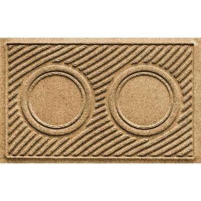 Gold 18 in. x 28 in. Dog Bowl Wave Pet Mat