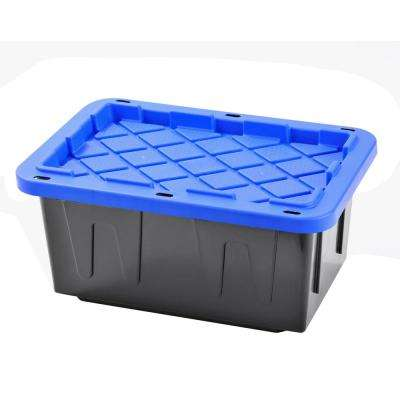 Heavy Duty 15 Gal. Tote Black Bottom and Blue Snap Lid (4-Pack)