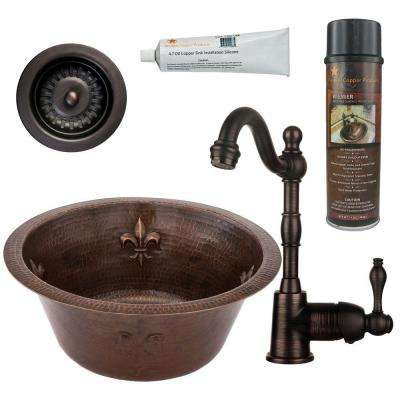 All-in-One Dual Mount Copper 16 in. 0-Hole Round Fleur De Lis Bar/Prep Sink in Oil Rubbed Bronze