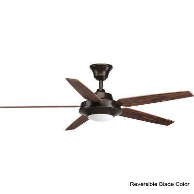 Signature Plus II Collection 54 in. LED Indoor Antique Bronze Rustic Ceiling Fan with Light Kit and Remote