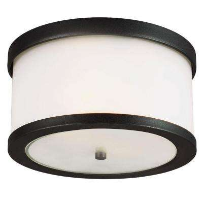 Bucktown 2-Light Outdoor Black Ceiling Flushmount with Satin Etched Glass