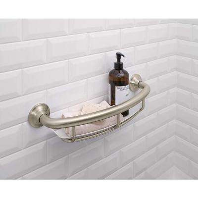 16 in. x 1 in. Screw Grab Bar with Shelf in Brushed Nickel