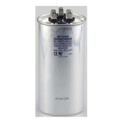 440-Volt 80/10 MFD Dual Rated Motor Run Round Capacitor