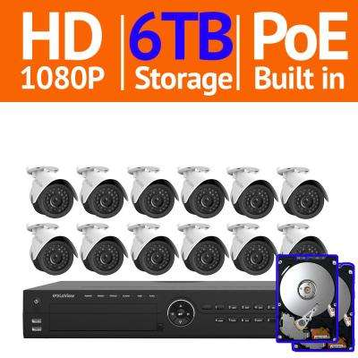 16-Channel 1080P IP Surveillance 6TB NVR Security System (12) 1080P Wired Indoor/Outdoor Cameras Free Remote View