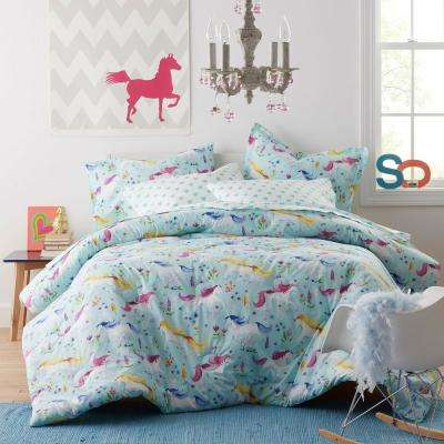 Unicorn Garden Cotton Percale Comforter