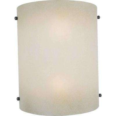 2-Light Brushed Nickel Sconce with Shaded Umber Glass