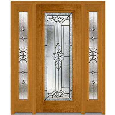 68.5 in. x 81.75 in. Cadence Decorative Glass Full Lite Finished Fiberglass Oak Exterior Door with Sidelites