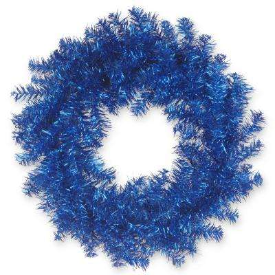 24 in. Blue Tinsel Artificial Wreath