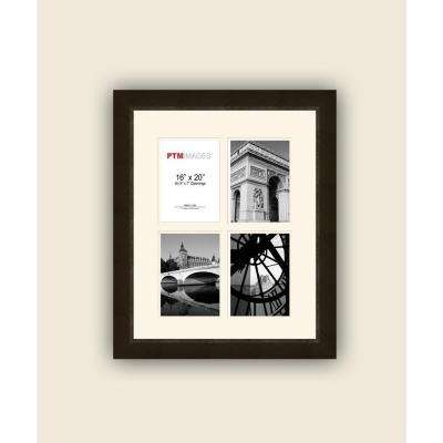 4-Opening 5 in. x 7 in. White Matted Espresso Photo Collage Frame