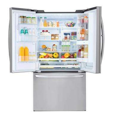 28 cu. ft. 3 Door French Door Smart Refrigerator with InstaView Door-in-Door in PrintProof Stainless Steel