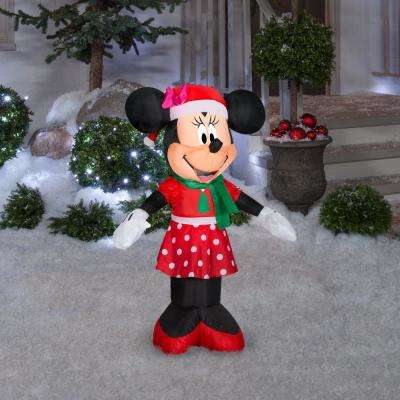 3.5 ft. Pre-lit Inflatable Airblown Minnie Mouse in Christmas Dress