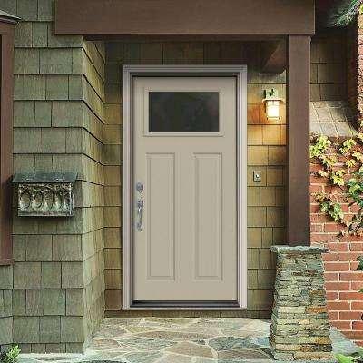 32 in. x 80 in. 1 Lite Craftsman Desert Sand Painted Steel Prehung Right-Hand Inswing Front Door w/Brickmould