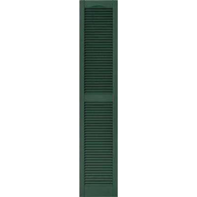 15 in. x 75 in. Louvered Vinyl Exterior Shutters Pair #028 Forest Green