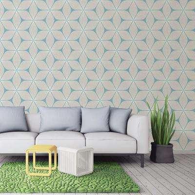 56.4 sq. ft. Vibration Cream Geometric Wallpaper