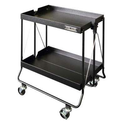 24 in. Folding Utility Cart, Textured Black