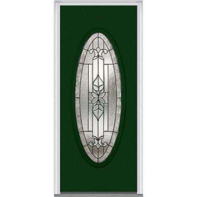 31.5 in. x 81.75 in. Cadence Decorative Glass Full Oval Lite Painted Majestic Steel Exterior Door