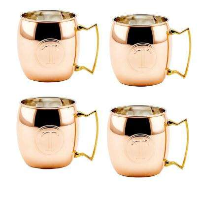 Monogram T 16 oz. Solid Copper Moscow Mule Mugs (Set of 4)