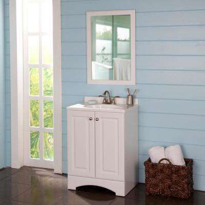 24 in. W Bath Vanity in White with Cultured Marble Vanity Top in White with White Basin