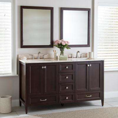 Claxby 61 in. W x 22 in. D Bathroom Vanity in Chocolate with Stone Effects Vanity Top in Dune with White Sink