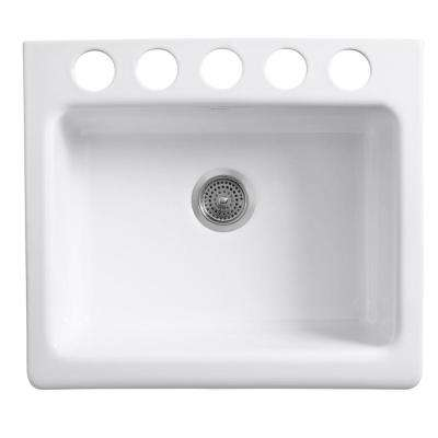 Evenweave Design on Alcott Farmhouse Apron-Front Fireclay 25 in. 5-Hole Single Basin Kitchen Sink in Earthen White