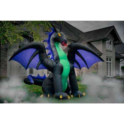 11 ft. Pre-Lit Animated Projection Fire and Ice Dragon with Wings Halloween Inflatable