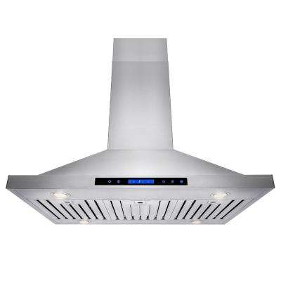 36 in. Convertible Kitchen Island Mount Range Hood in Stainless Steel with Remote, Dual Touch Control and Carbon Filter