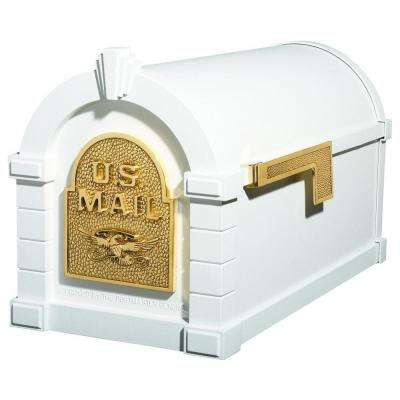 Keystone Series Aluminum Post-Mount Mailbox White with Polished Brass