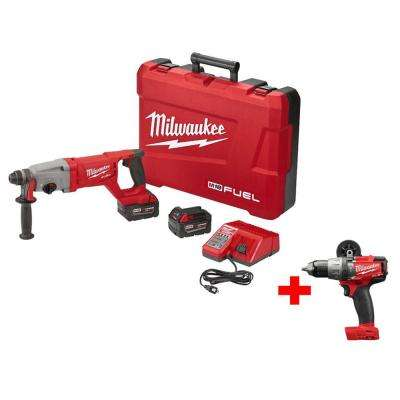 M18 FUEL 18-Volt Lithium-Ion Brushless 1 in. SDS-Plus D-Handle Rotary Hammer Kit with Free M18 FUEL 1/2 in. Hammer Drill
