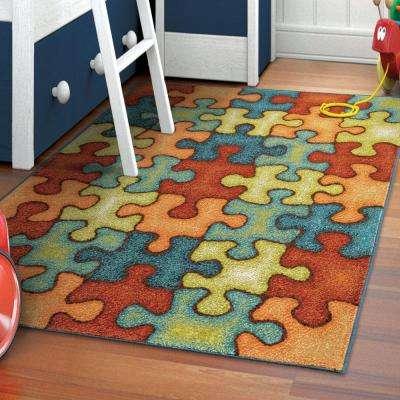 Perplexed Puzzle Multi 5 ft. x 8 ft. Indoor Area Rug