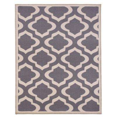 Anne Collection Trellis Design Gray 3 ft. 3 in. x 5 ft. Modern Non-Skid Area Rug