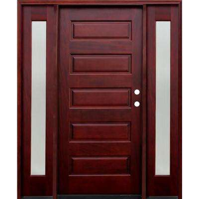 5-Panel Stained Mahogany Wood Prehung Front Door w/ 6 in. Wall Series & 14 in. Reed Sidelites