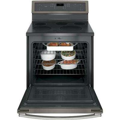 Profile 30 in. 5.3 cu. ft. Electric Range with Self-Cleaning Convection Oven in Slate, Fingerprint Resistant