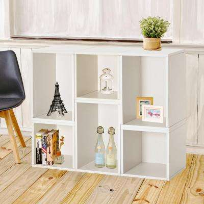 Blox System Naples Stackable 6-Cubby Modular Bookcase and Storage Shelf in White