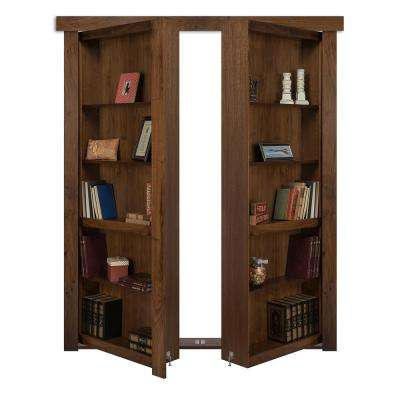 60 in. x 80 in. Flush Mount Assembled Walnut Medium Stained In-Swing Solid Core Interior French Bookcase Door