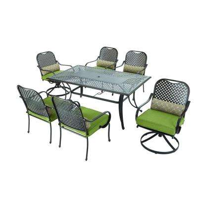 Fall River 7-Piece Patio Dining Set with Moss Cushions