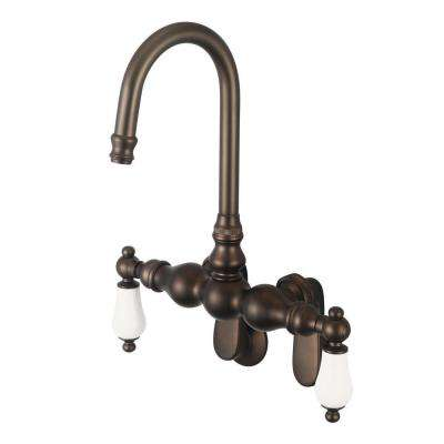2-Handle Wall-Mount Gooseneck Claw Foot Tub Faucet with Porcelain Lever Handles in Oil Rubbed Bronze