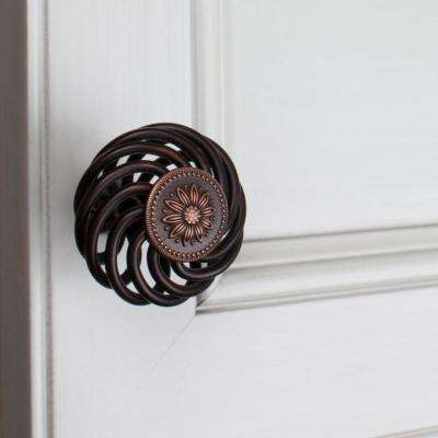 1-1/2 in. Dia Oil Rubbed Bronze Round Flower Birdcage Cabinet Knobs (10-Pack)