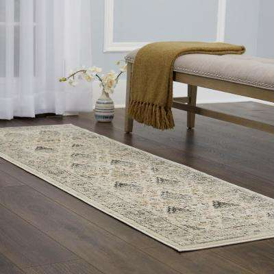 Christian Siriano Surface Berkshire Cream/Gray 2 ft. 2 in. x 7 ft. 2 in. Indoor Runner Rug